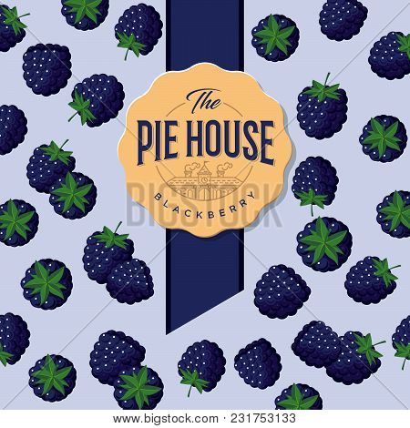 Pie House Packaging. Label For Pie. Black Berry Pattern.