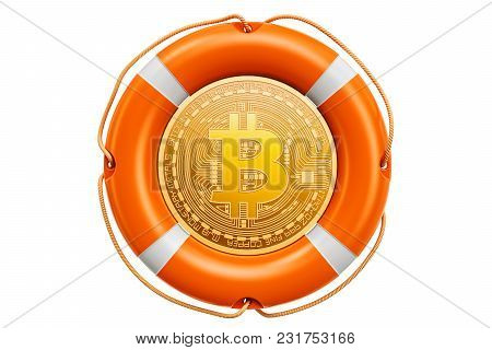 Bitcoin In The Lifebuoy, Protection And Safety Concept. 3d Rendering