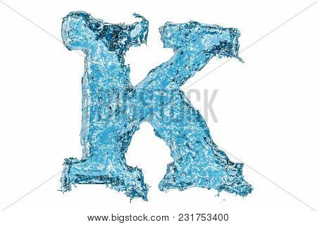 Water Letter K, 3d Rendering Isolated On White Background