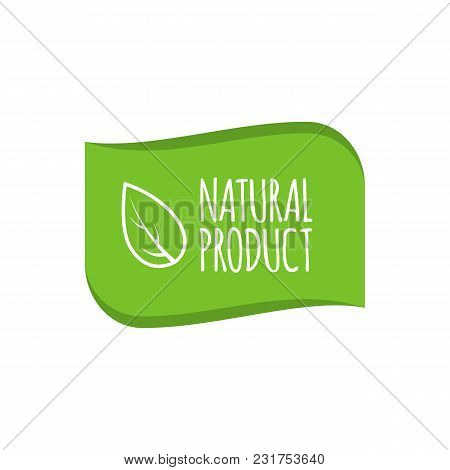 Natural Product Logo, Badge. Organic Sticker For Products Packaging. Vector Illustration.