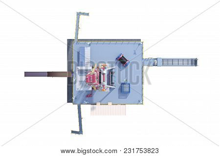 Land Rig Industrial Equipment Production Gas, Top View. 3d Rendering