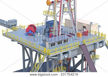 Land Rig Drilling With Pipe Well Power, Close View. 3d Rendering