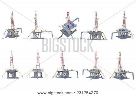 Land Rig Drilling Oil Platform Set. 3d Rendering
