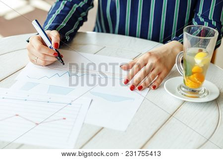 A Financial Analyst Conducts An Analysis Of The Company.  Details. The Concept Of Work, Business, Ed
