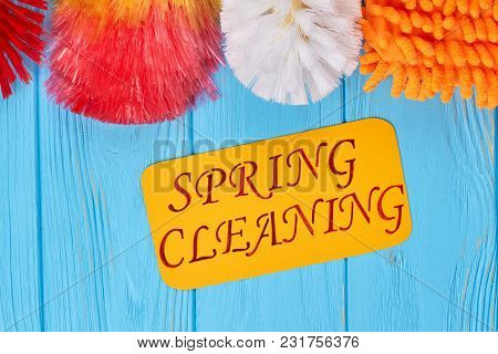 Colorful Products For Cleaning The House. Cleaning Tools Including Dust Broom And Microfiber Glove O