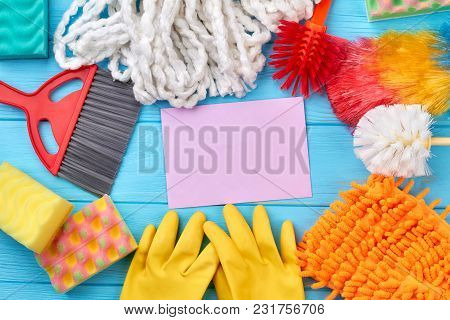 Colorful Cleaning Supplies Composition. Different Items For House Cleaning. Still Life Cleaning Prod