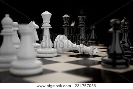 3d Illustration Of Chessboard With Figures During The Game Close-up On A Dark Background. Victory An