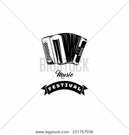 Classical Bayan, Accordion, Harmonic, Jew S-harp. Musical Instrument. Music Festival, Store Logo Lab