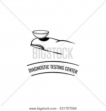 Contact Lens On The Finger. Diagnostic Testing Center Inscription. Vector Illustration. Symbol Desig
