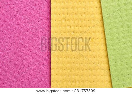 Multicolored Rags For Washing Dishes. Close Up Colorful Cellulose Napkins For Washing Dish.