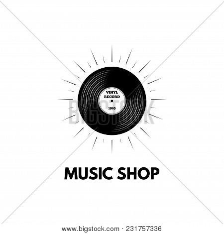 Vinyl Record. Vinyl Records Shop. Retro Vinyl. Music Stote Logo. Vector Illustration