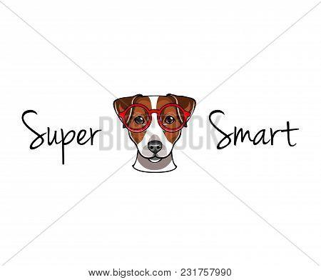 Jack Russell Terrier In Smart Red Eyeglasses. Dog Geek. Super Smart Lettering. Vector Illustration.