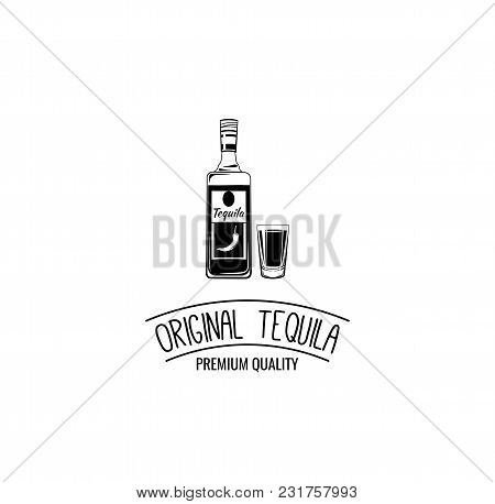 Bottle Of Tequila With Shot Glass Icons. Alcohol Menu Design For Bar, Pub, Restaurant. Vector Illust