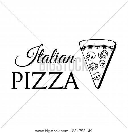 Fast Food Pizza Slice Icon. Pizza Delivery. Italian Food. Pizzeria Logo. Vector Illustration. Isolat