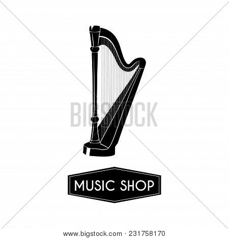 Harp Icon. Music Style Template. Music Instrument. Vector Illustration. Design For Poster, Brochure,