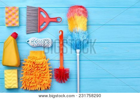 Flat Lay Cleaning Products, Copy Space. Set Of Equipmet For House Cleaning Including Brushes, Sponge