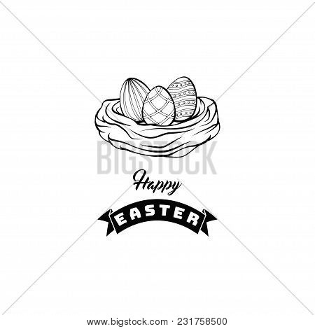 Card With Easter Eggs In The Nest And Inscription Happy Easter. Vector Template Suitable For Greetin