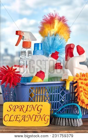 Colorful Cleaning Items In Basket. Variety Of Products And Supplies For Cleaning. Big Spring Cleanin