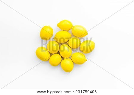 Yellow Lemons On White Table Background Top View Mock Up