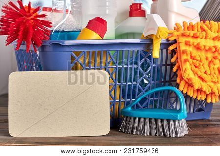 Detergents And Tools For Cleaning. Cleaning Kit In Basket. Concept Of Tidiness At Home.