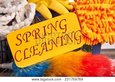Spring Cleaning Colorful Background. Spring Cleaning Concept With Supplies. Paper Card With Text Spr