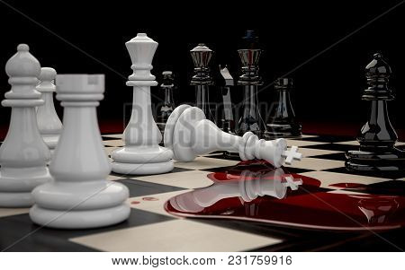 3d Illustration Of Chessboard With Figures During The Game Close-up On A Dark Background. Defeat Of