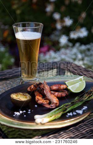 Whole Grilled Shrimps Dinner In Garden