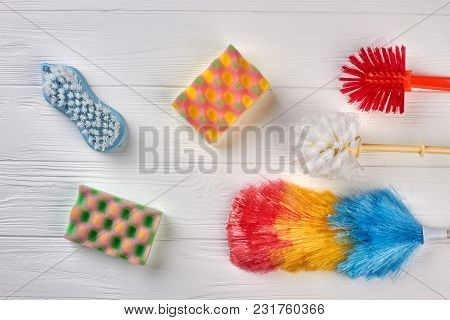Set Of Products For House Cleaning. Kitchen Sponges For Dishes Washing. Brushes For House Cleaning.
