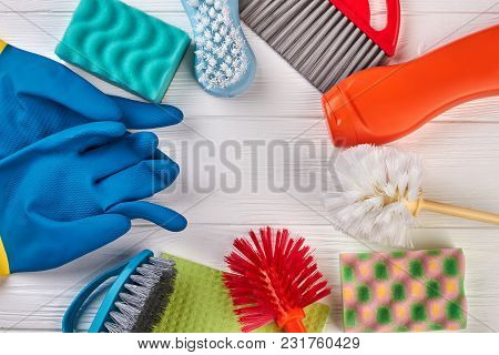 Frame From House Cleaning Products. Colorful House Cleaning Supplies With Copy Space. Household Chor