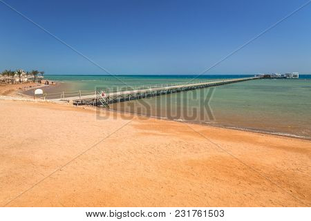 Pier on the beach of Red Sea in Hurghada, Egypt