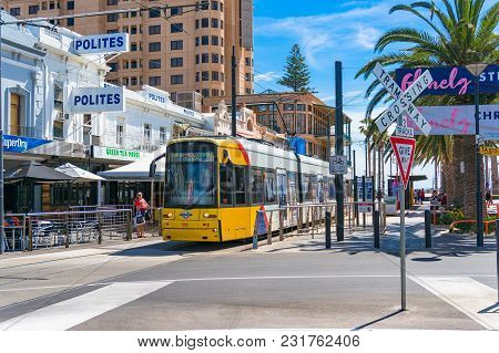 Glenelg, Australia - November 13, 2017: Bright Yellow Tramway On Moseley Square. Public Transport Of