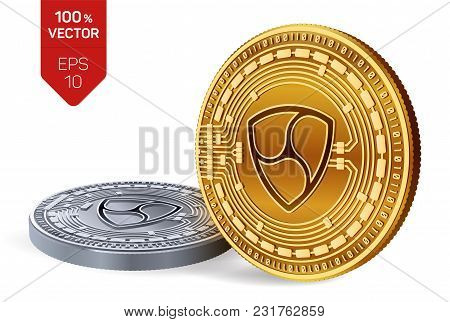Nem. Crypto Currency. 3d Isometric Physical Coins. Digital Currency. Golden And Silver Coins With Ne