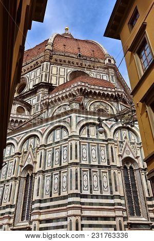 Beautiful Dome Of Florence Cathedral, Built By Italian Architect Brunelleschi And Symbol Of Renaissa