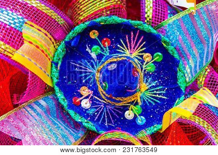 Small Blue Sombrero Decorated With Rhinestones And Glitter