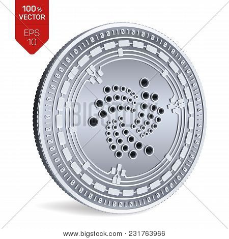 Iota. 3d Isometric Physical Coin. Digital Currency. Cryptocurrency. Silver Coin With Iota Symbol Iso