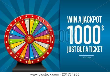 Design Of Webpage Advertising Jackpot Winner With Wheel Of Fortune.