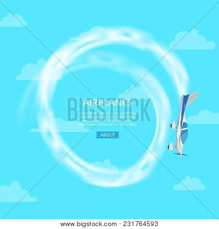 Banner With Small Airplane Spinning And Performing Trick In Blue Sky.