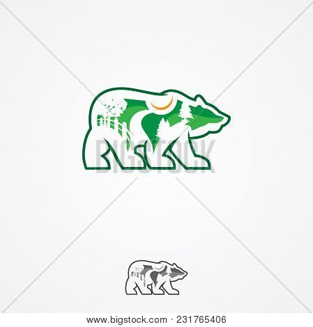 Landscape Design Company Or Green Landscaping Studio Icon Forming A Bear. Vector Symbol Of Green Tre