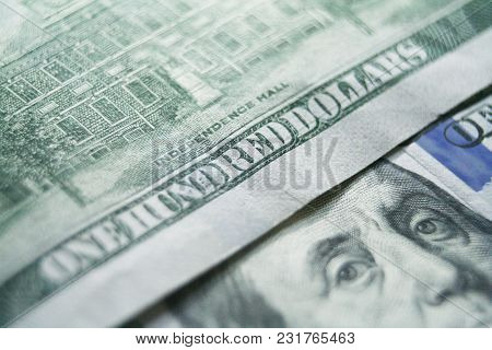 Hundreds Close Up High Quality Stock Photo