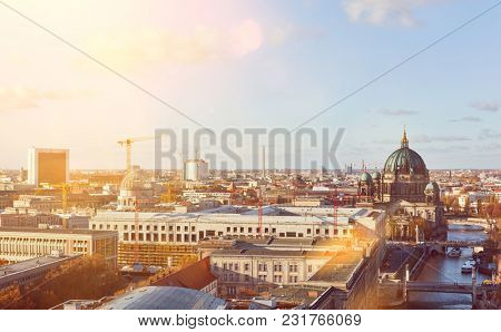 Sunny day in Berlin City with Berlin Cathedral next to the river Spree
