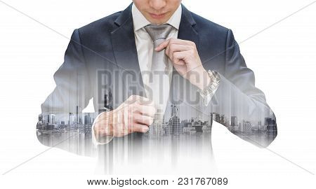 Double Exposure Businessman Tying Necktie And Buildings, Isolated On White Background