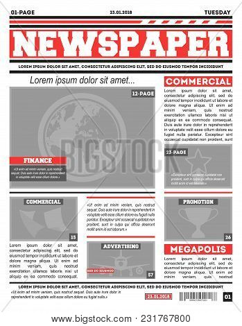 Emplate Of Newspaper Main Page With Red Headline And Illustration Space.