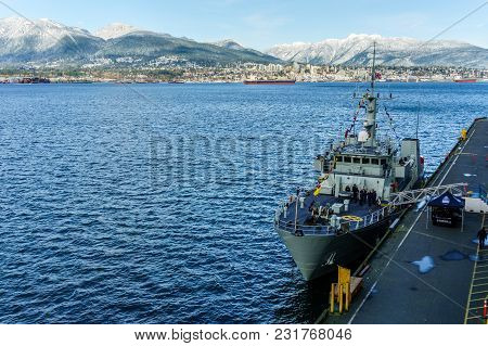 Vancouver, Canada - February 18, 2018: Canadian Navy Ship Parked At Vancouver Canada Place Port And