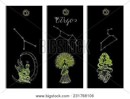 Set With Cancer, Leo And Virgo Zodiac Symbols Banners On Black. Hand Drawn Vector Illustration. Temp