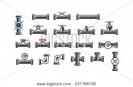 Collection Of Iconic Pipe Pieces And Fittings For Plumbing Works Isolated On White.