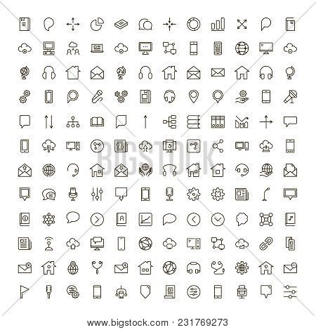 Communication Icon Set. Collection Of High Quality Outline Phone Pictograms In Modern Flat Style. Bl