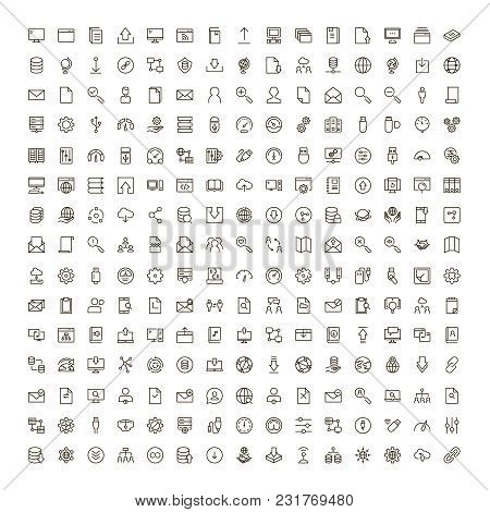 Data Exchange Icon Set. Collection Of High Quality Black Outline Logo For Web Site Design And Mobile
