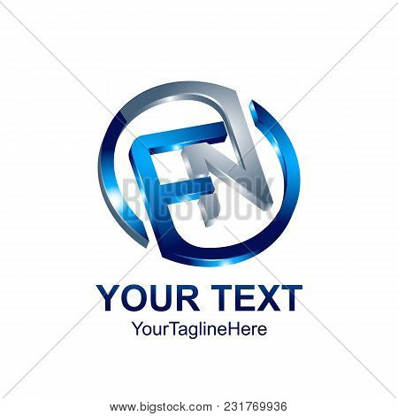 Initial Letter Fn Logo Template Colored Blue Circle Design For Business And Company Identity