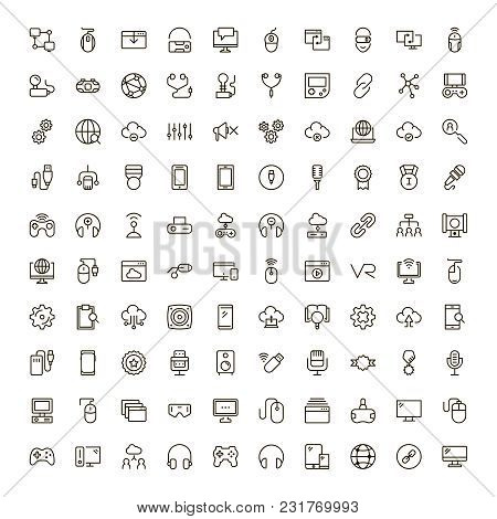 Virtual Reality Icon Set. Collection Of High Quality Black Outline Logo For Web Site Design And Mobi