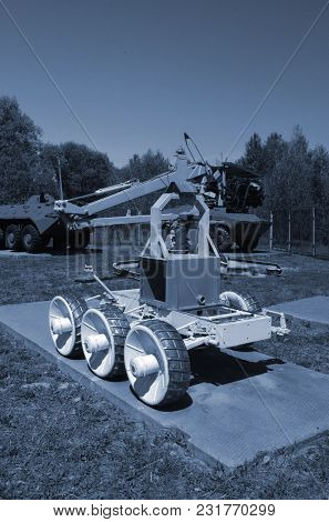 Soviet robots of 1980-th exhibition. Technology, which cleared the debris of the Chernobyl nuclear power plant.May 19, 2017.Chernobyl.Kiev region.Ukraine